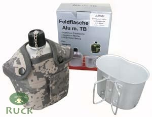 Feldflasche m. Becher, US Alu AT-digital tarn neu